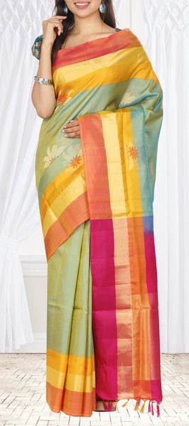 Light Green & Flame Soft Silk Saree