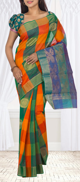 Orange & Green Semi Silk Cotton Casual Saree
