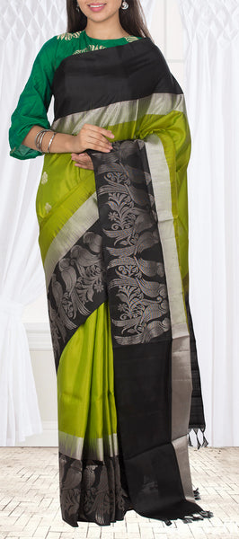 Parrot Green & Black Soft Silk Saree