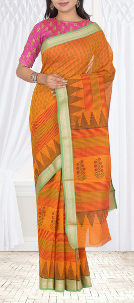 Orange & Green Semi Tussar Casual Saree