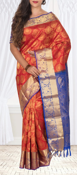 Red & Purple Soft Kanchipuram Handloom Silk Saree