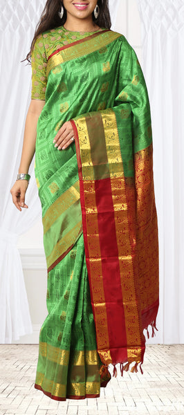 Green & Red Lightweight Kanchipuram SIlk Saree