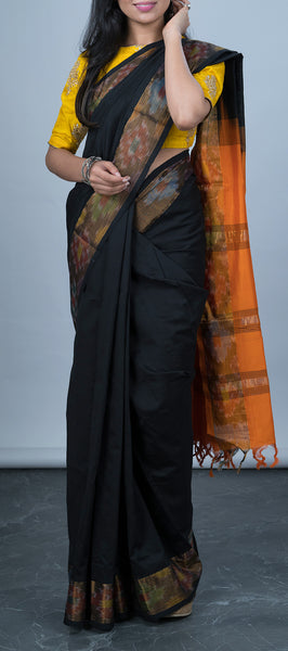 Black Silk Cotton Saree with Pochampalli Border
