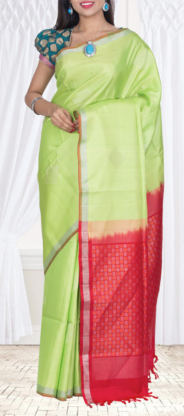 Neon Green & Red Soft Silk Saree — Diwali Collection