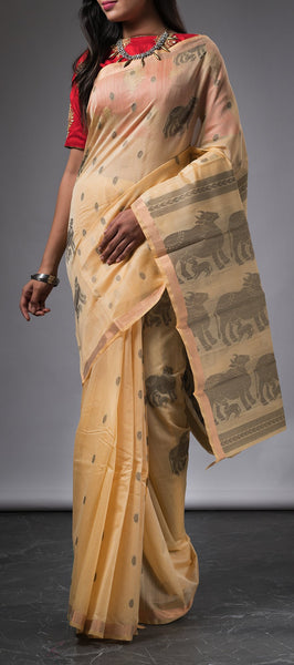 Cream Ethnic Silk Cotton Saree