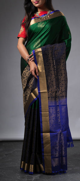 Green and Black Kanchipuram Silk Saree