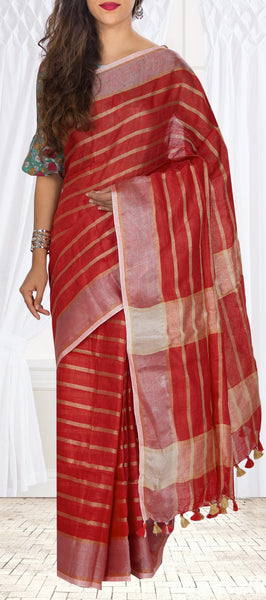 Kumkum Red Linen Silk Saree