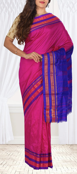 Purple & Dark Blue Lightweight Kanchipuram Handloom Silk Saree