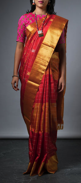 Orange Soft silk Saree with Zari Checks