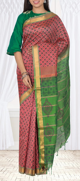 Onion Pink & Green Traditional Silk Cotton Saree