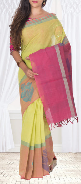 Green, Brown & Magenta Ethnic Cotton Saree