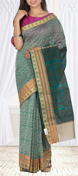 Teal Blue & Beige Semi Kalamkari Casual Saree