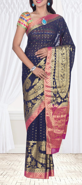 Dark Blue Semi Chiffon Casual Saree With Benarasi Zari Work