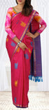 Dark Pink Pure Kanchipuram Handloom Silk Saree With Half-fine Zari