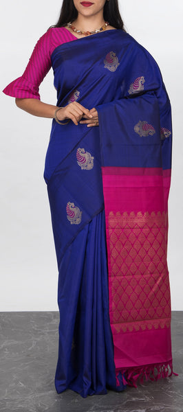 Borderless Royal Blue Kanchipuram Silk Saree