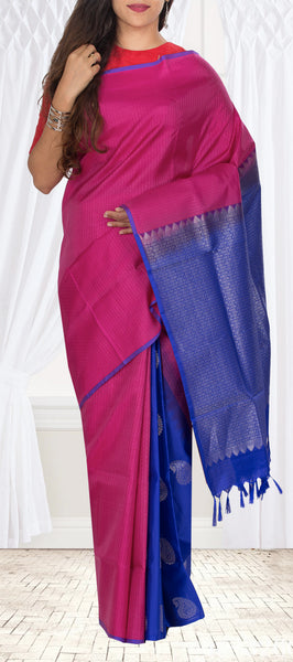 Magenta & Dark Blue Lightweight Kanchipuram Handloom Silk Saree