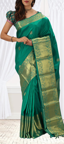 Green Pure Kanchipuram Handloom Silk Saree with Half-Fine Zari