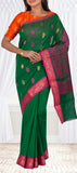 Dark Green & Magenta Semi SIlk Cotton Casual Saree