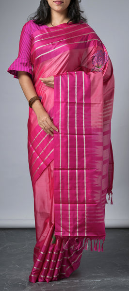 Pink Softsilk Saree with Thread Bhuttas