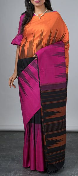 Tri-colored Kanchipuram Silk Saree
