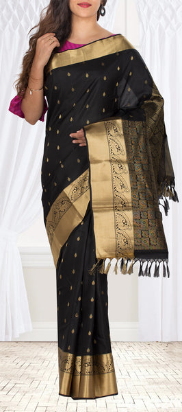 Black Lightweight Kanchipuram Handloom Silk Saree
