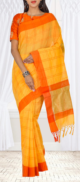 Mango Yellow & Orange Semi Silk Cotton Casual Saree