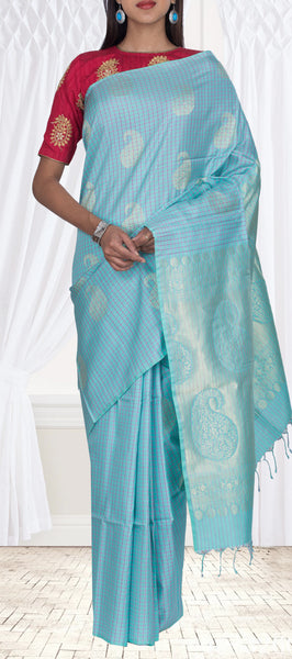 Turquoise Blue Borderless Pure Soft SIlk Saree