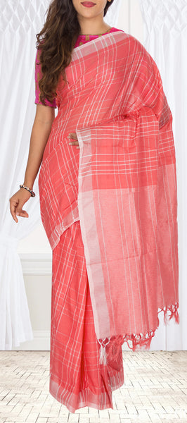 Peach Semi Linen Saree