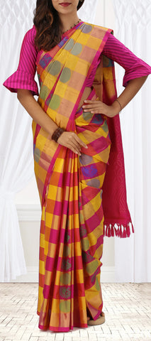 Yellow And Pink Softsilk Saree