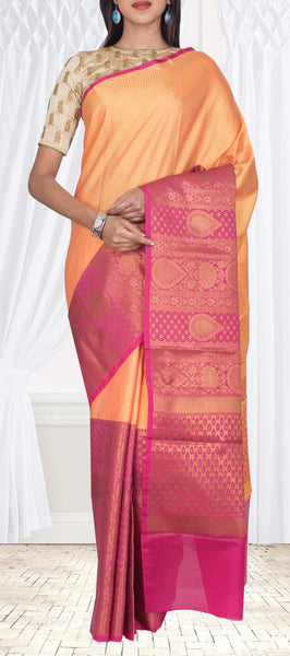 Orange & Pink Organza Casual Saree