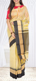 Lemon Yellow & Black Semi Silk Cotton Saree