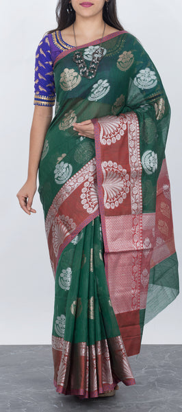 Green Semi Kora Silk Saree