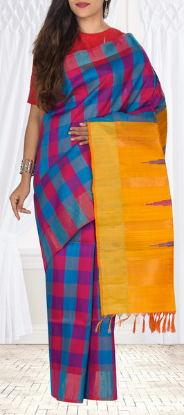 Checked Pure Jute Silk Saree With Mango Yellow Pallu