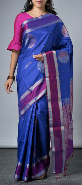 Royal Blue Softsilk Saree with Purple Border