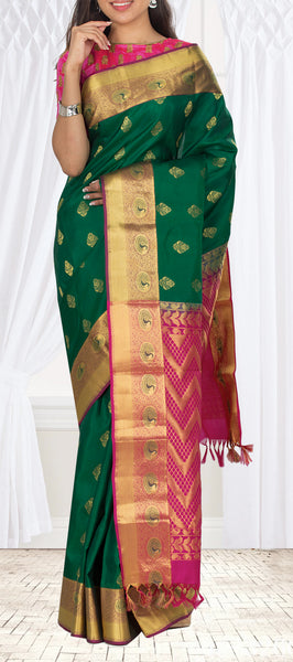 Green & Magenta Lightweight Kanchipuram Handloom Silk Saree
