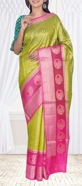 Parrot Green Tussar Silk Saree