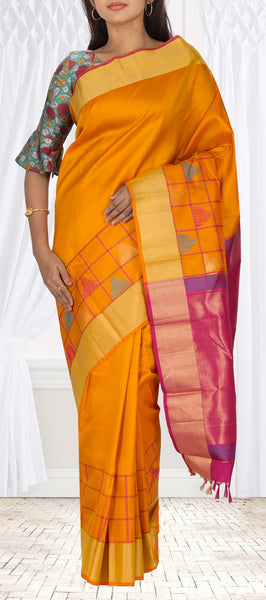 Mango Yellow & Magenta Soft Silk Saree