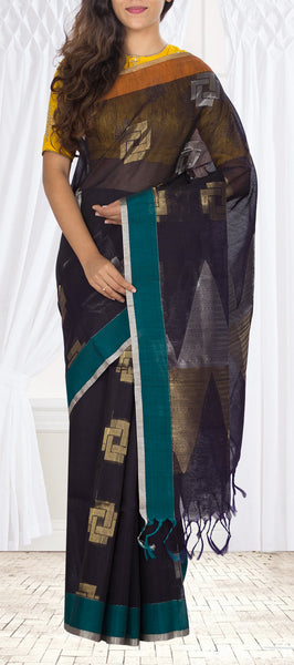 Black, Teal & Rust Silk Cotton Saree