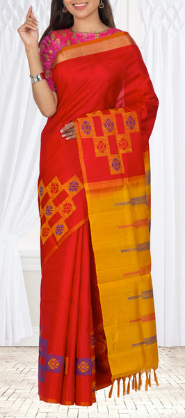 Red & Mustard Soft Silk Saree With Jute Work