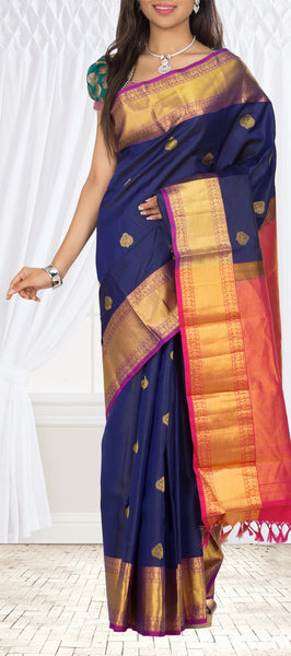 Midnight Blue Lightweight Kanchipuram Silk Saree