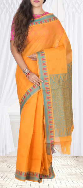 Burnt Orange & Teal Blue Maheshwari Cotton Saree