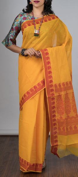 Mango Orange Cotton Saree