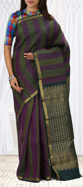 Musk Green & Purple Pure Kanchipuram Handloom Silk Saree With Half-Fine Zari