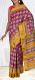 Purple & Mustard Semi Pochampalli Casual Saree