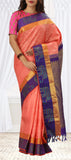 Onion Pink & Purple Pure Kanchipuram Handloom Saree With Half Fine Zari