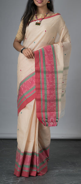 Off-White Simple Cotton Saree