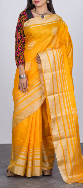 Mango Yellow Soft Silk Saree