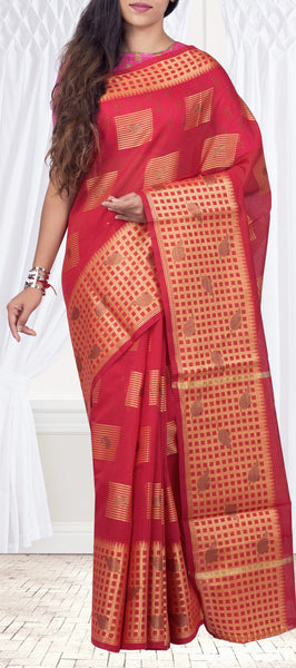 Red Semi Silk Cotton Casual Saree