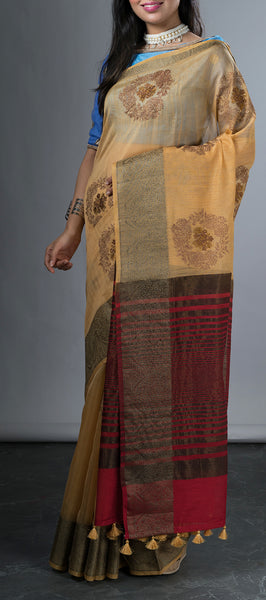 Sandalwood Brown Saree Semi Kora Saree with Linen Finish
