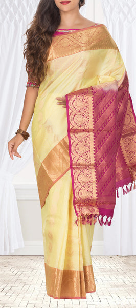 Lemon Yellow & Dark Pink Pure Kanchipuram Handloom Silk Saree With Half-Fine Zari